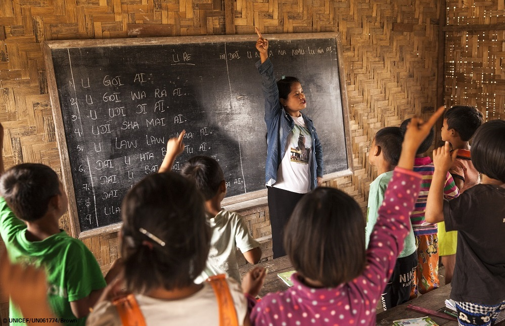 Students participate in a class at the internally displaced people school at the Phan Khar Kone IDP camp in Bhamo city, Kachin State, Myanmar, Wednesday 29 March 2017. In 2017, working with the Government of Myanmar, UNICEF will strive to meet the basic needs of the most vulnerable internally displaced children. Myanmar is experiencing three protracted humanitarian crises, each with its own set of complex underlying factors. In Rakhine State, inter-communal violence that erupted in 2012 continues to plague 120,000 internally displaced people spread across 40 camps or informal sites, as well as host communities. Eighty per cent of the displaced are women and children. In Kachin State, armed conflict that reignited in 2011 continues to impact communities caught in the crossfire between an ethnic armed group and the Myanmar army. Nearly 87,000 people remain displaced as a result, including 40 per cent who are in areas outside of government control. An additional 11,000 people remain displaced in northern Shan State, where a similar conflict broke out in 2011. Compounding the protracted crises are issues related to religious and/or ethnic discrimination, exploitation, chronic poverty, vulnerability to natural disasters, statelessness, trafficking and humanitarian access. In addition to the humanitarian crises in Rakhine, Kachin and Shan states, Myanmar is impacted by humanitarian situations in other parts of the country, including natural disasters, health emergencies and small-scale displacements.