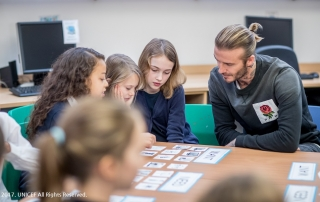David Beckham  UNICEF Goodwill Ambassador David Beckham visits Kentish Town C of E Primary School, London, on 20 November 2017, to celebrate World Children's Day.  Beckham met with pupils aged between five and 11 to discuss the issues that affect them most. The day marks the anniversary of the adoption of the Convention on the Rights of the Child and the mobilisation of the first World Children's Day. Kentish Town Primary is a Rights Respecting School, an initiative run by Unicef UK which supports schools to place the UN Convention on the Rights of the Child at the heart of their ethos. It empowers pupils to realise their own rights and develop every child's talents and abilities to their full potential. David Beckham has been a UNICEF Goodwill Ambassador since 2005. In 2015, his tenth year as an Ambassador for UNICEF, he launched 7: The David Beckham UNICEF Fund to help protect children in danger.  UNICEF/Dymond/2017